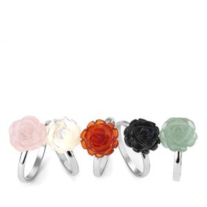 Set of 5 Kaleidoscope Gemstone Rings in Sterling Silver 25cts