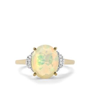 Ethiopian Opal Ring with Diamond in 9K Gold 1.93cts