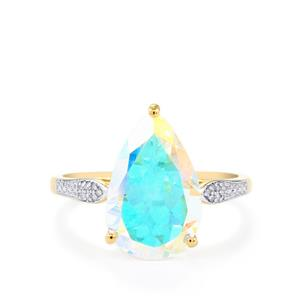 Mercury Mystic Topaz Ring with Diamond in 10k Gold 5.29cts