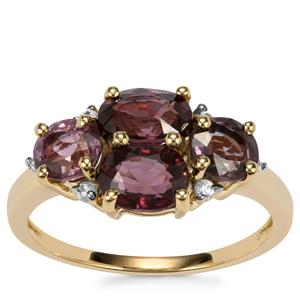 Burmese Spinel Ring with White Zircon in 10K Gold 3.25cts