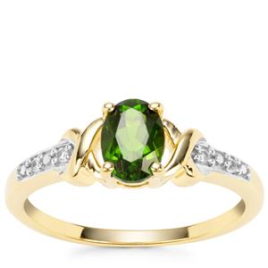 Chrome Diopside Ring with White Zircon in Gold Plated Sterling Silver 0.91ct