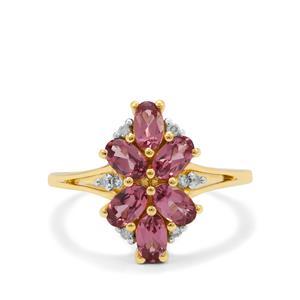 Malaya Garnet Ring with Diamond in 9K Gold 1.80cts