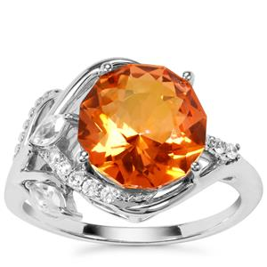Lotus Cut Padparadscha Quartz Ring with White Zircon in Sterling Silver 3.73cts