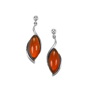 American Fire Opal Earrings in Sterling Silver 6.91cts