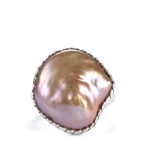 Baroque Cultured Pearl Ring in Sterling Silver (16x15mm)
