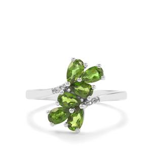 Chrome Diopside & White Topaz Sterling Silver Ring ATGW 1.26cts