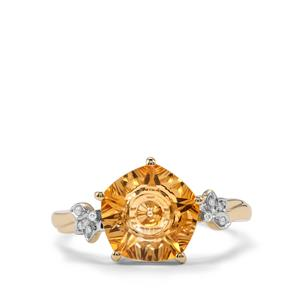 Lehrer QuasarCut Diamantina Citrine Ring with Diamond in 9K Gold 2.97cts