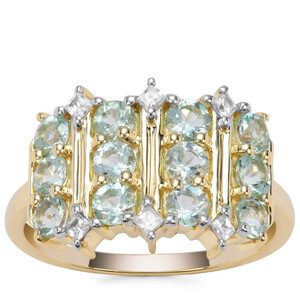 Aquaiba Beryl Ring with White Zircon in 9K Gold 1.32cts