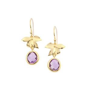 Zambian Amethyst Earrings in Gold Plated Sterling Silver 3.65cts