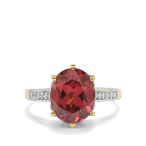 Zanzibar Sunburst Zircon Ring with Diamond in 18K Gold 5.32cts