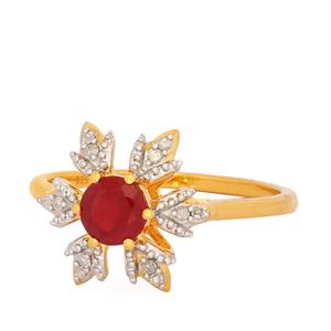 Montepuez Ruby Ring with Diamond in Gold Plated Sterling Silver 0.75ct