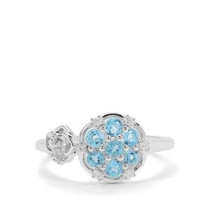 Swiss Blue Topaz & White Zircon Sterling Silver Ring ATGW 0.87ct