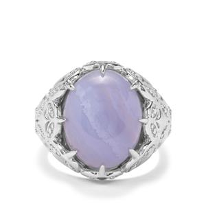 8.40ct Blue Lace Agate Sterling Silver Ring
