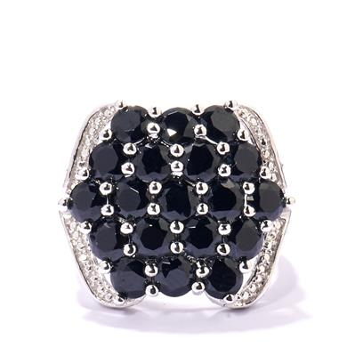 BLACK SPINEL RING IN STERLING SILVER