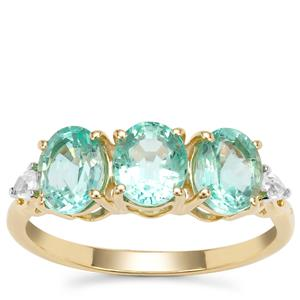Siberian Emerald Ring with White Zircon in 9K Gold 2.34cts
