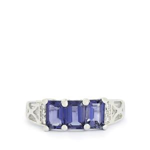 Bengal Iolite & White Topaz Sterling Silver Ring ATGW 1.42cts
