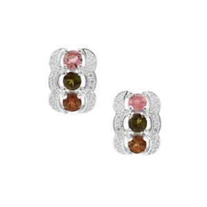 Pederneira Multi-Colour Tourmaline Earrings with White Zircon in Sterling Silver 1.76cts