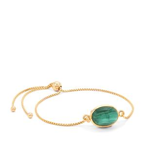 Malachite Slider Bracelet in Gold Plated Sterling Silver 8cts