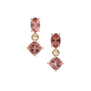 Rosé Apatite Earrings in 9K Gold 2.23cts