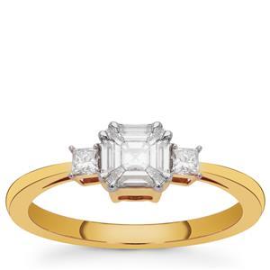 Pie Cut Diamond Ring in 18k Gold 0.40cts