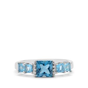 2.08ct Swiss Blue & Blue Topaz Sterling Silver Ring