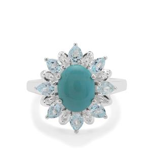 Sleeping Beauty Turquoise, Sky Blue Topaz & White Zircon Sterling Silver Ring ATGW 3.57cts