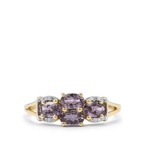 Mahenge Blue Spinel Ring with Diamond in 10K Gold 1.11cts
