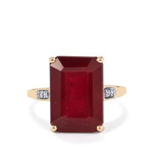 Malagasy Ruby Ring with Diamond in 9K Gold 11.46cts (F)