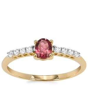Nigerian Rubellite Ring with White Zircon in 9K Gold 0.48cts