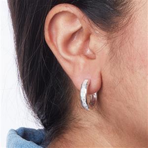 Halo Moonstone Hoop Earrings in Sterling Silver