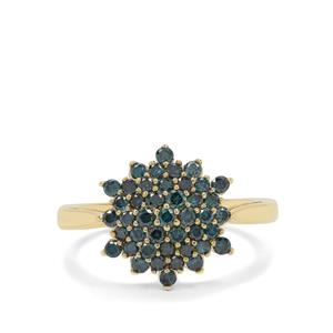 3/4ct Blue Diamond 9K Gold Ring