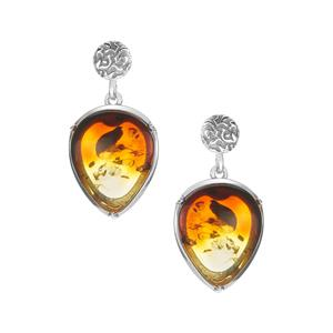 Baltic Ombre Amber Sterling Silver Earrings (16 x 13mm)