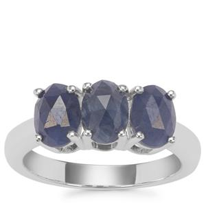 Rose Cut Bharat Sapphire Ring in Sterling Silver 3cts
