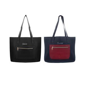 Destello Black Matt Finish Vegan Leather Handbag (Black Pocket =BA / Red Pocket=R1)