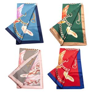 Destello Chain & Feather Print Scarf    .01=RED / .02=BLUE / .03=PINK / .04=GREEN