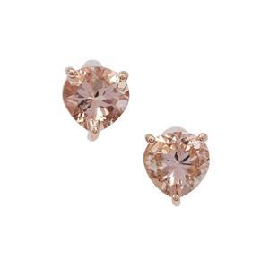 Nigerian Morganite Earrings in 9K Rose Gold 1.50cts