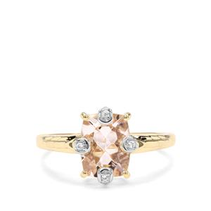 Alto Ligonha Morganite & White Zircon 9K Gold Ring ATGW 1.95cts