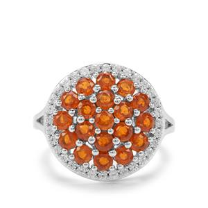 Loliondo Orange Kyanite & White Zircon Platinum Plated Sterling Silver Ring ATGW 3.66cts