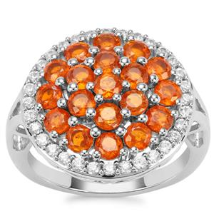 Loliondo Orange Kyanite Ring with White Zircon in Platinum Plated Sterling Silver 3.66cts