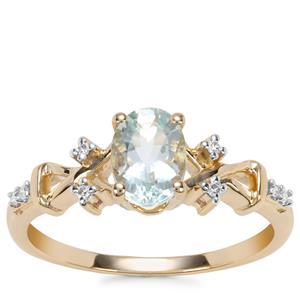 Aquaiba Beryl Ring with Diamond in 9K Gold 0.69ct