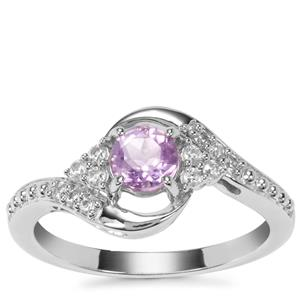Moroccan Amethyst Ring with White Zircon in Sterling Silver 0.65ct