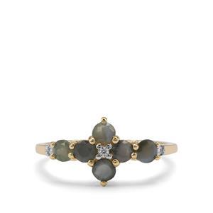 Alexandrite & White Zircon 9K Gold Ring ATGW 1.03cts