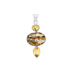Astrophyllite Drusy Pendant with Diamantina Citrine in Sterling Silver 23.50cts