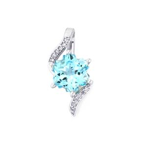 Sky Blue Topaz Wobito Snowflake Pendant with Diamond in 10K White Gold 2.77cts