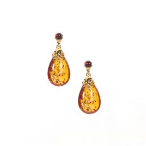 Baltic Cognac Amber Gold Tone Sterling Silver Earrings