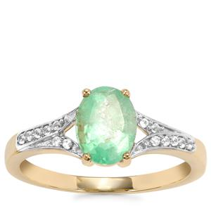 Siberian Emerald Ring with White Zircon in 9K Gold 1.29cts