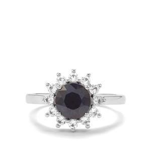 Madagascan Blue Sapphire & White Topaz Sterling Silver Ring ATGW 2.27cts