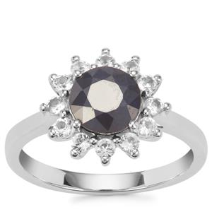 Madagascan Blue Sapphire Ring with White Topaz in Sterling Silver 2.27cts