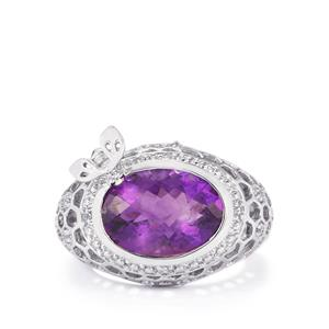 Amethyst & White Topaz Sterling Silver Ring ATGW 5.76cts