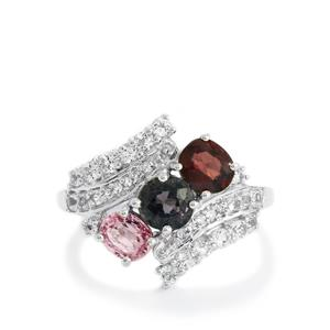 Burmese Multi-Colour Spinel Ring with White Topaz in Sterling Silver 2.73cts